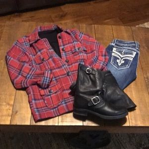 Western Plaid Jacket Red